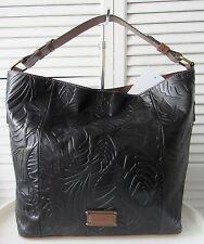 Nwt Tignanello Palm Embossed Vintage Leather Rfid Hobo Bag Black