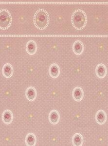Dolls House Cameo Reverse Grey Miniature Print Wallpaper 3 Sheets