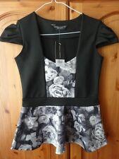 Dorothy Perkins Black and Grey Rose Pattern Peplum Top