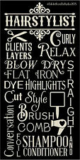 PRIMITIVE STENCIL HAIR STYLIST TYPOGRAPHY  12X24 .007 MIL FREE SHIPPING