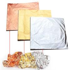 100 Sheets Gold Silver Copper Leaf Foil Paper Gilding Art Craft Decor 14* 14cm