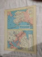 1954 Map of Alaska & Panama Canal Zone - Map of Hawaii On Reverse