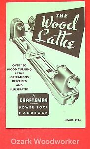 CRAFTSMAN Wood Lathe 1954 Handbook Operator's Manual 0863