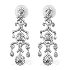 Art Deco .06ct  White Diamond platinum overlay sterling silver earring