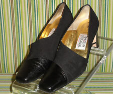 TIMOTHY HITSMAN BLACK LEATHER Satin HEELS SHOES SIZE 6.5 M