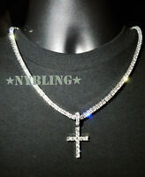 14k Silver IP Tennis Chain Cross Pendant Choker VVS Lab Diamond ICED Necklace
