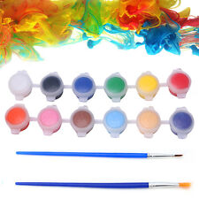12 Colors Paint Brushes 2 Paints Set Oil Painting Watercolor Hand Wall Painting