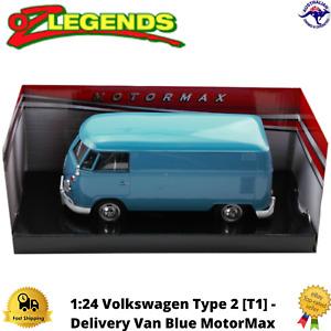 Diecast Model Car 1:24 Volkswagen Type 2 [T1] - Delivery Van MotorMax Blue New
