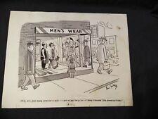 LEW FOLLETTE original art CARTOON for REAL MAGAZINE men's wear DEPARTMENT STORE