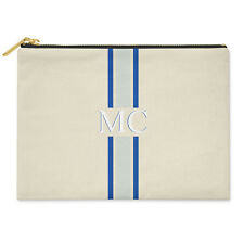 PERSONALISED MONOGRAMMED INITIALS BLUE STRIPED COTTON CANVAS CLUTCH BAG POUCH