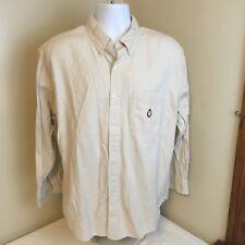 Vtg Chaps Ralph Lauren Long Sleeve Shirt Beige Check Crest Logo Measures Large