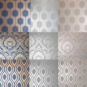 Arthouse Luxe Damask/Hexagan/Ogee Geo Metallic Wallpaper 3 Colours