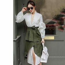 Autumn Women Suit Puff Sleeve Two Pcs. Set Shirt Skirt High Waist Korean Fashion