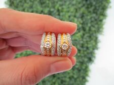 1.57 Carat Total Weight Diamond Twotone Gold Creole Earrings 18k E65 sep