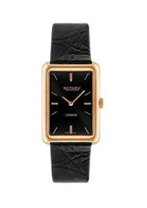 Rotary Men's Quartz Watch with Black Dial Analogue Display and Black Leather Str