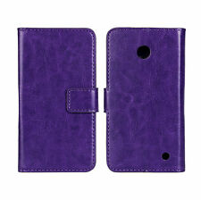 Purple Genuine Leather Wallet Card Case Cover For Nokia Lumia 630/635 LTE 4G