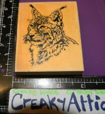 Bob Cat Wild Animal Close Up Rubber Stamp Creakyattic