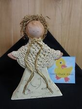 "ANGEL FIGURINE 7"" Wood White Crochet Shawl Gold Accents Grapevine Halo"