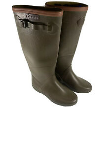 Aigle Rain Boots Women's Size 7.5 EU Size 35 Chantebelle Olive Green Free Ship