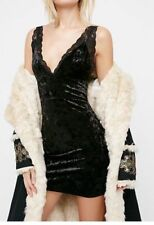 FREE PEOPLE Viper Black Velvet Bodycon Sleeveless Cocktail Party Mini Dress M