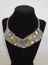 Kenneth Cole Silvertone LINKED IN Multi Color Bead  Chain Collar Necklace $105