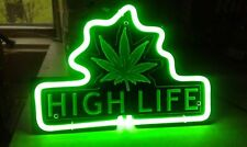 "Marijuana Open Leaf Weed High Life 3D Carved Neon Light Sign 12"" Gift Lamp Bar"