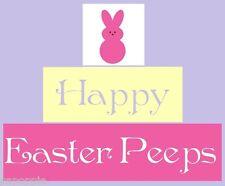 Stencil Blocks Happy Easter Peeps Set of 3 Bunny Peep Spring
