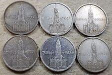 UNIQUE 6 x Full Mint Set 5 Mark Potsdam Garrison Church 1934 Nazi Silver Coin