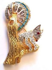 Vtg Squirrel Brooch Pin Tree Trunk Nuts Aquamarine Austrian Rhinestone Crystal