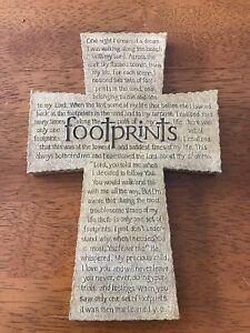 "Footprints Inspirational Cross Plaque 8 1/2"" X 6"" inches Inspirio 2002 Wall"