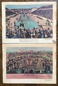 BILL SCHROEDER FINGERPRINT Great Fight & First Modern Olympic Games TWO 9 X 12