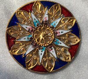 Antique French Button Champleve Enamel Cloisonne Shank Daisy Floral Design
