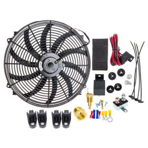 """16"""" INCH ELECTRIC RADIATOR COOLING FAN 12V 3000CFM RELAY THERMOSTAT SWITCH KIT"""