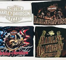 Set of 4 Harley-Davidson Biker SS TShirts L Ft Worth Great Lakes Long Horn Vegas