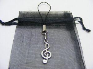 Tibetan Silver Treble Clef Mobile Phone / Handbag Charm With Gift Bag