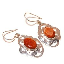 Pleasing Red Gold Stone Oval Gemstone silver plated Handmade Filigree Earrings