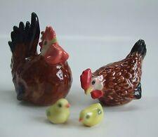 * Lot 4 Hand-Painted Miniatures Ceramics Chicken Family Figurines Set *