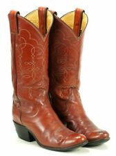 Justin Womens Western Cowboy Boho Boots Russet Red Leather Vintage US Made 6.5 A