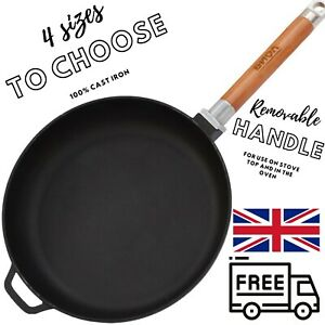Cast Iron Frying Pan Skillet 22-28 cm Removable Handle Works Also With Induction
