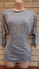 QUIZ GREY SILVER SEQUINS SEQUIN BEADED BAGGY OVERSIZED TOP BLOUSE TUNIC CAMI 12