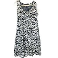 Maeve Anthropologie Fitted Navy & White Dress Size Large