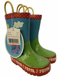 New Original Peppa Pig Muddy Puddles Pull-On Rain Boots Size 7