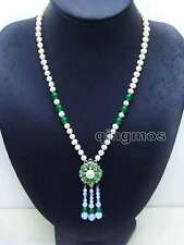 "and 25mm Green Pendant 20"" necklace-nec6084 6-7mm White Round Natural Fw Pearl"