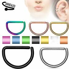 16G D Shaped Titanium Plated Steel Septum Nose Ring Tragus Ear Nipplerings Hoop
