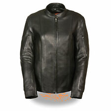 Womens Leather Black RACER Motorcycle Jacket Biker Rider Scooter Zip out Liner