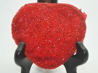 beaded handmade zipper style new coin purse wallet pouch bag red heart shape