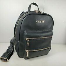 GUESS women backpack black faux leather Caley silver zippers pocket new