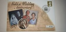 Golden wedding anniversary queen Elizabeth mint £5.00 coin first day stamp cover