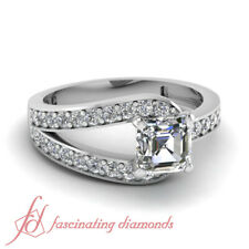 .65 Ct Asscher Cut:Very Good Diamond Split Pave Set Engagement Ring 14K VVS2 GIA