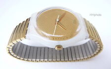 """Swatch: """" Gold Paper """" (GW124) with Stretch Strap in Gold New/Top-Rarität"""